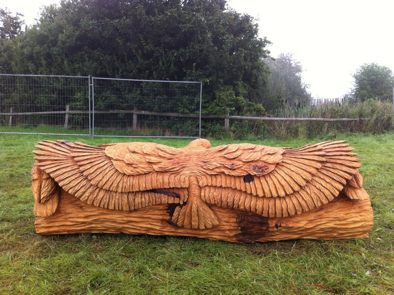 Chainsaw Carving Oak Owl Bench